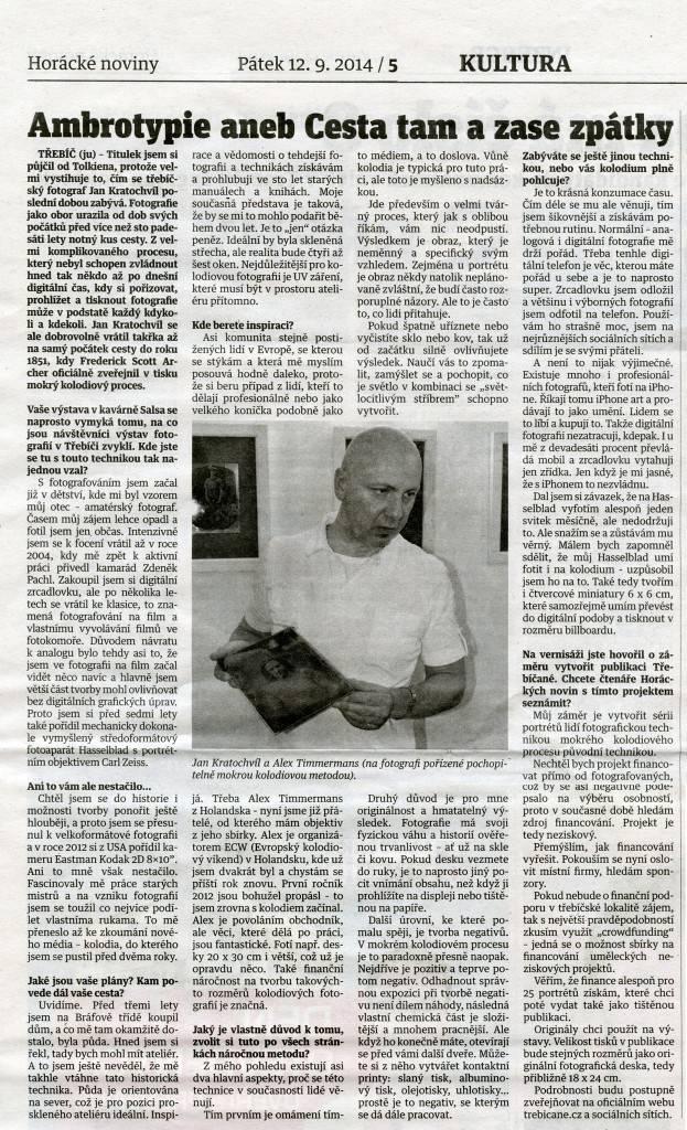 Jan Kratochvíl, Horácké noviny Třebíč, Fotografie mokrým kolodiovým procesem