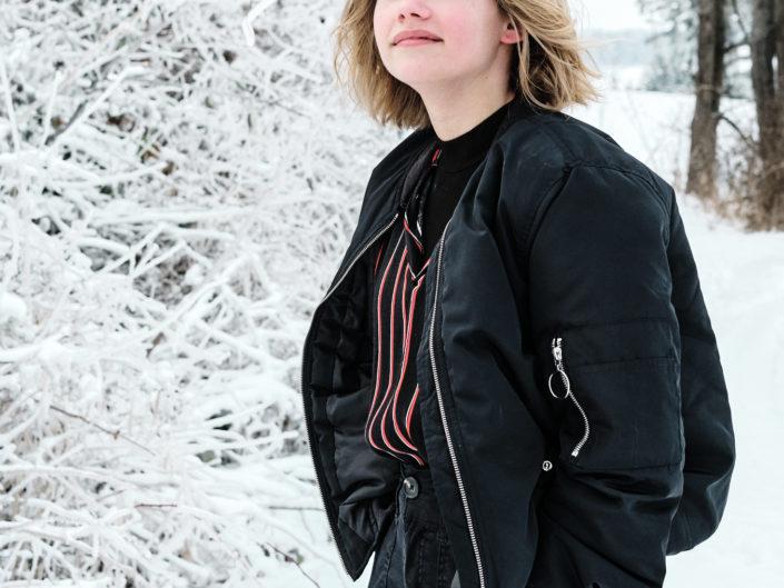 Zimní portrétní focení venku