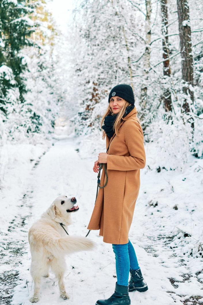 Focení na sněhu se psem