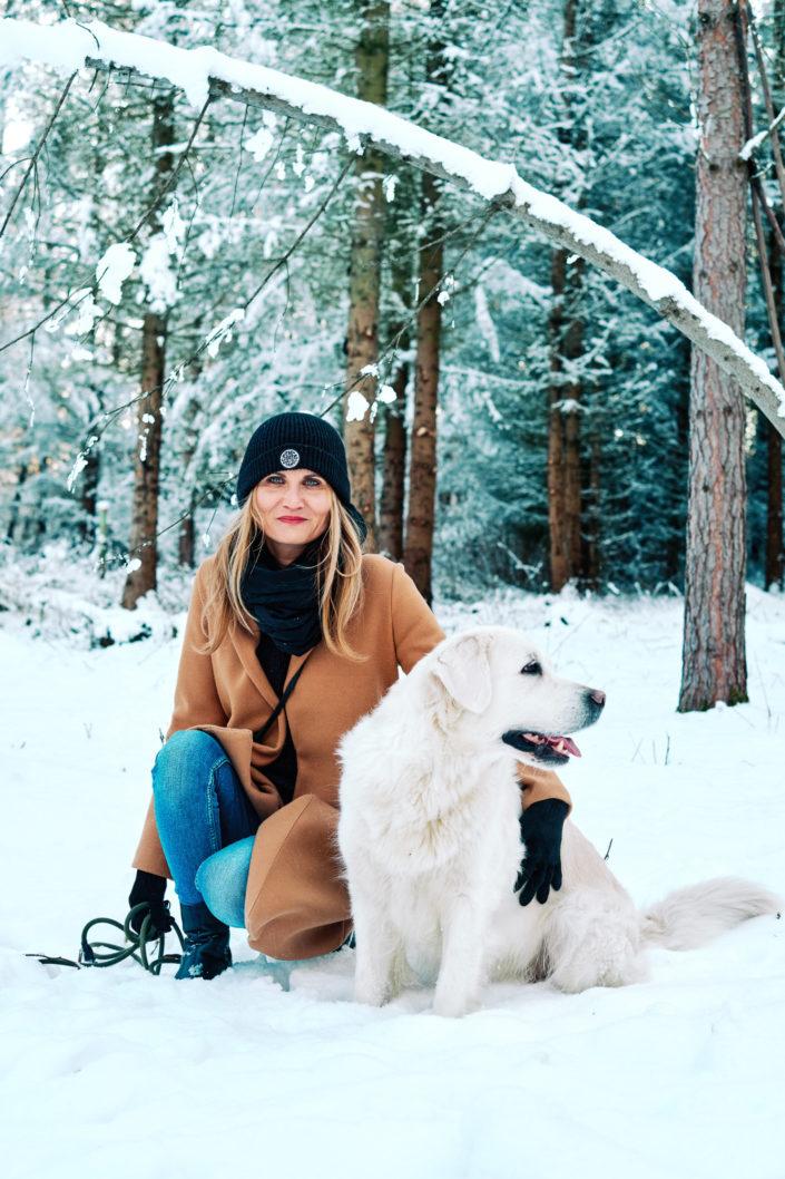 Focení na sněhu se psem Třebíč